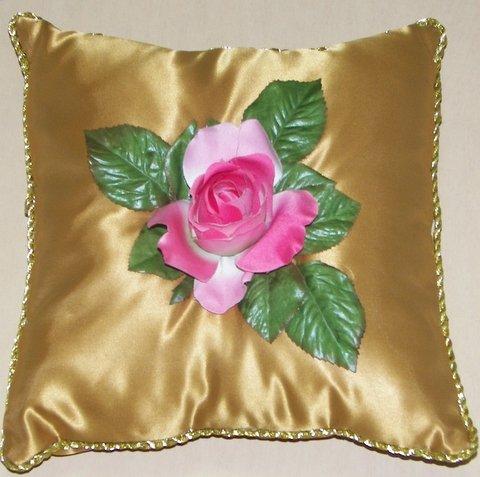 Gold Satin Pillow with Pink Rose