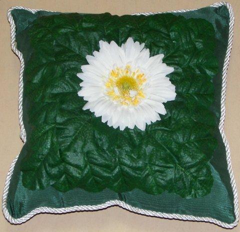 Dark Green Moiré Pillow with Daisy Center