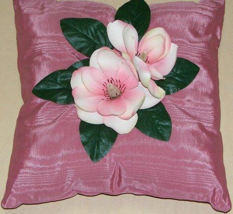 Mauve Moiré Pillow with Magnolia Flower