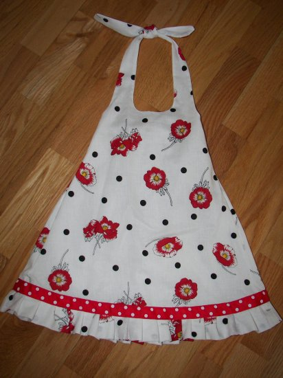 Custom Polka Dot and Poppy Halter Dress Sz 3T