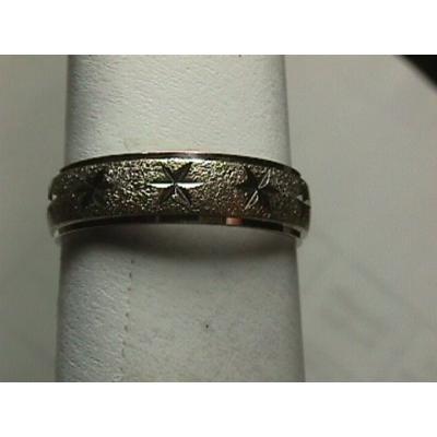 Very Unique Men's Diamond Cut Star Wedding Band - Estate Piece