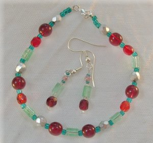 Red & Green Bracelet and Earring Set
