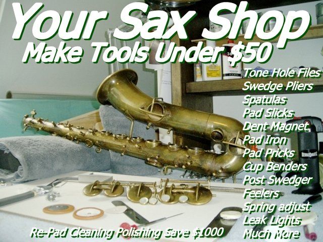 Saxophone Tenor Alto Soprano Vintage Make Repair + Pad Tools $50 +Make Reed Case