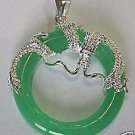 925 silver dragon yuhuan necklace set with green pendant A18