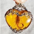 Rare Tibetan silver amber necklace scorpions pendant (A19)