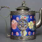 China's manual and old blue porcelain Tibet silver teapot (A28)