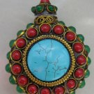 China's green jade and turquoise charming snuff bottle (A35)