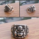 Charming Tibet silver laughing Buddha male ring (A38)