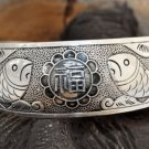 Carving delicate Tibet silver bracelet fish welfare (A40)
