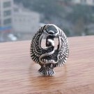 Fine silver eagle and snake Tibet carved male ring (B6)