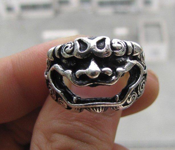 Elegant Tibet silver dragon carving open male ring (B-9)