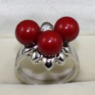 8 mm 3 star of the red pearl shell beautiful women ring (B-11)