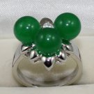 The beauty of the 8 mm green jade 3 star of the female ring (B-14)