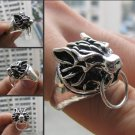 Charming China Tibetan silver sculpture Wolf male ring (B-18)