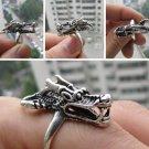 Charming China Tibetan silver sculpture Wolf male ring (B-18)