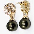 Beautiful and charming 12 MM ga color pearl earrings  (B-115)
