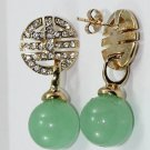 Charming natural green round emerald earrings (B116)