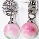Attractive nature round 12 mm color jade earrings (B121)