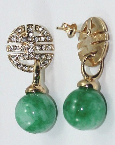 The beauty of natural round 12 millimeter wave flower green jade earrings (B122)