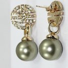 The beauty of natural round 12 mm grey pearl earrings (B124)