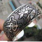 Rare Tibetan silver sculpture insulation skulls bracelet (A122)