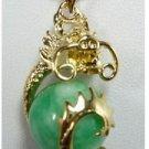 Manual sculpture elegant natural green wave flower jade necklace pendant (B126)