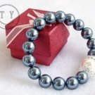 10 mm and 14 mm white and black pearl and drill bracelet (A127)
