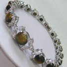 Lovely yellow eyes jade tiger and diamond lady bracelet (A129)