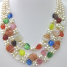 Beautiful pearl opals and constraint silk agate necklace (X9)