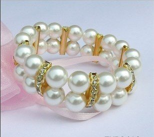 Natural pearl bracelet with double row 10 mm white set auger (A132)
