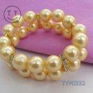 Yellow 10 mm pearl double row set auger bracelet (A133)