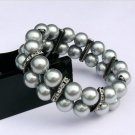 Black 10 mm pearl double row set auger bracelet (A135)