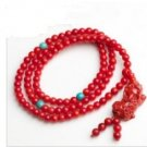 Manual sculpture 108 red star and turquoise bead the mythical wild animal necklace (X23)