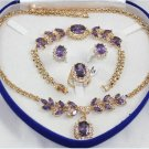 Attractive purple gems and diamond jewelry inlaid female suit (T5)