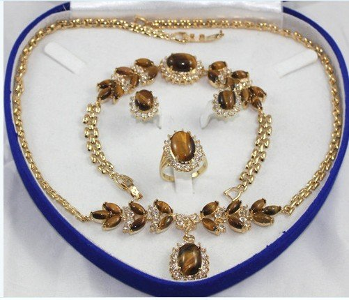 Charming tiger eye stone and diamond jewelry inlaid female suit (T6)