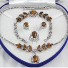 Charming tiger eye stone and diamond jewelry inlaid female suit (T7)