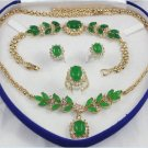 Attractive green jade and diamond jewelry inlaid female suit (T8)