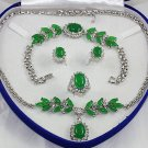 Attractive green jade and diamond jewelry inlaid female suit (T9)