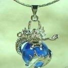 Blue jade carving dragon pendant necklaces