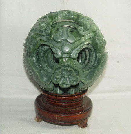 80mm Chinese jade flower magic Puzzle Ball +stand