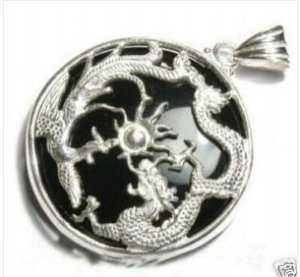 Black jade jade dragon ChengXiang necklace (P142)