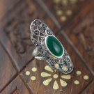 Thai green jade inlays hollow out silver female ring (J203)