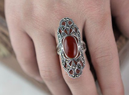 Hollow out silver inlaid jade female's red ring (J204)
