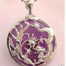 Charming purple jade inlay dragon&phoenix pendant (P190
