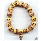 Fine Tibet Ox Bone Carved Skull Prayer Beads Bracelet