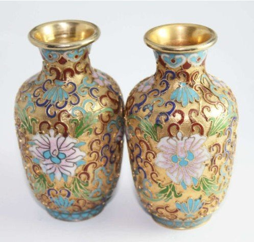 Asian a pair of Old Cloisonne Carving Peony Flower Vase(B140)