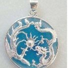 sky-blue jade silver dragon phenix pendant and necklace