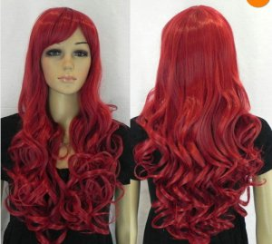 NEW long red curly women's full wig