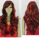 New brown bright red hair long mixed wig