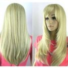 Beautiful natural woman with long straight blonde wig
